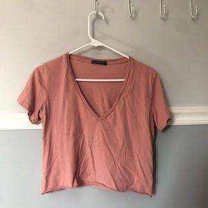 Pink Brandy Melville V-Neck Tee